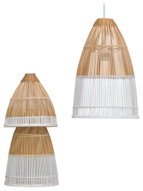 Dipped Bamboo 3 Piece Light Fixture Set Tropical Pendant Lighting