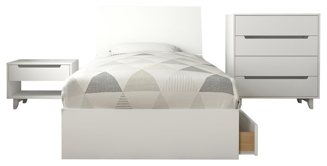 Divine 4 Piece Twin Bedroom Set, White   Transitional   Bedroom Furniture  Sets   By Nexera