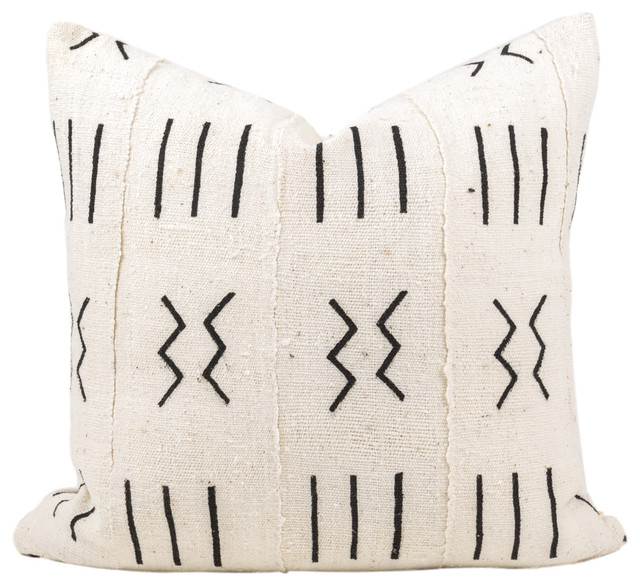 """Elgon African Mud Cloth Pillow, 20""""x20"""", Zipper, With Insert"""