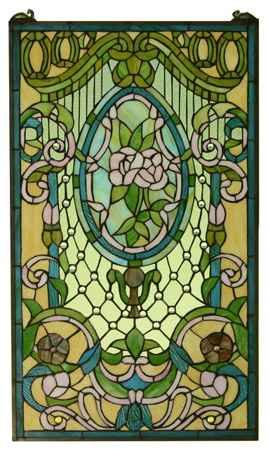 20 X 34 Large Handcrafted Stained, Victorian Stained Glass Window Panels