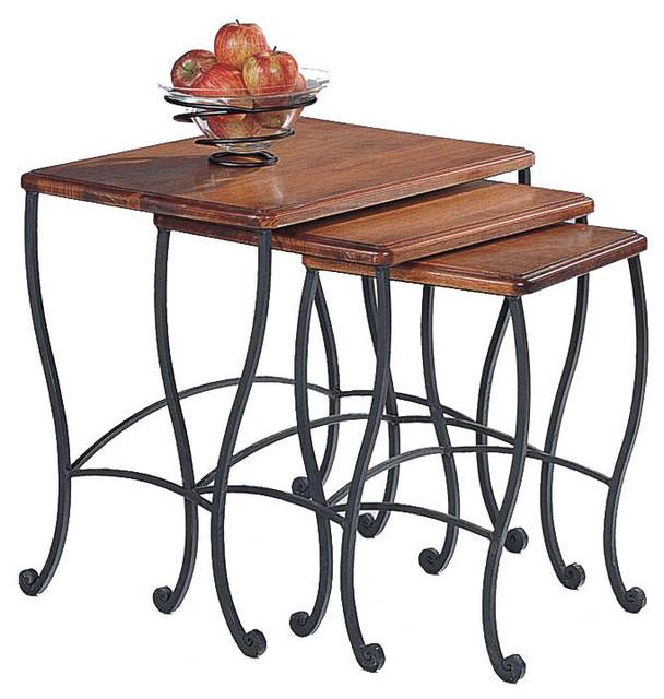 Coaster Fine Furniture 3 Piece Antique Style Rustic Oak Black Iron Carbriole Base Nesting