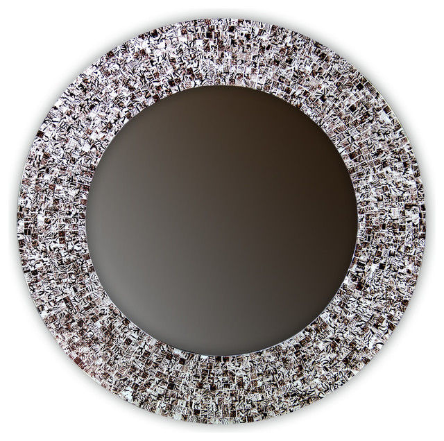 "Contemporary Wall Mirror 24"" mosaic wall mirror glass mosaic framed, round decorative wall"