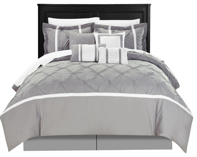 Vermont Gray King 12 Piece Comforter Bed In A Bag Set With Sheet