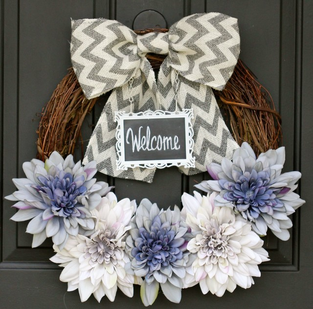 Spring / Summer Wreath - Lavender and Gray Flowers with Unique  Chalkboard frame