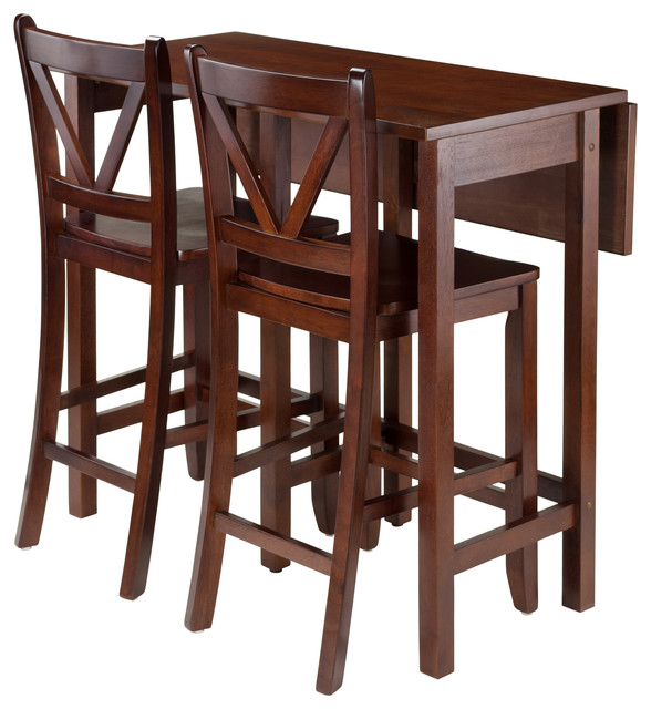 Lynnwood 3-Piece Drop Leaf Table With 2 Counter V-Back Stools.