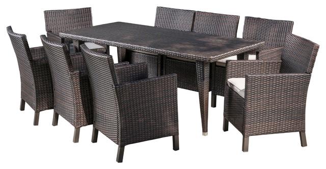 Cerrenne Outdoor 9-Piece Wicker Dining Set, Multi-Brown, Light Brown.
