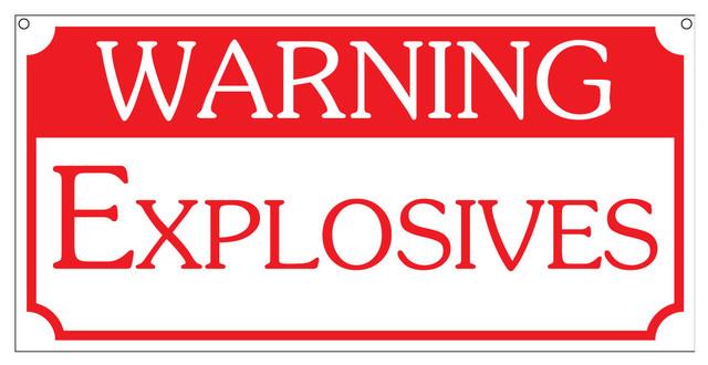 Warning Explosives Vintage Safety Man Cave Bar Sign 6x12