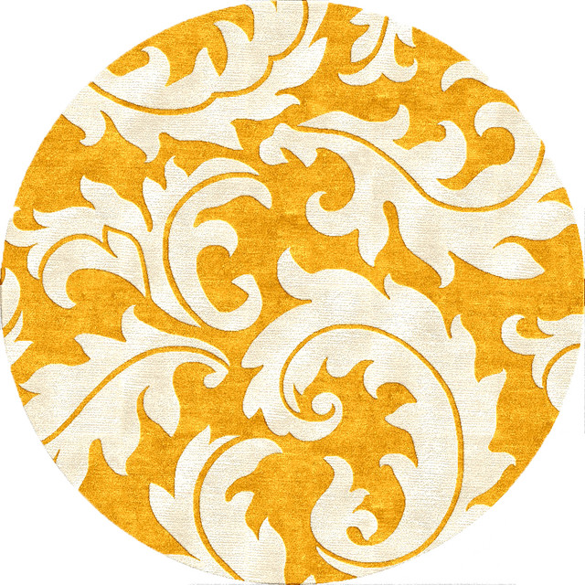 Abstract Pattern Gold Yellow Wool Silk Tufted Rug