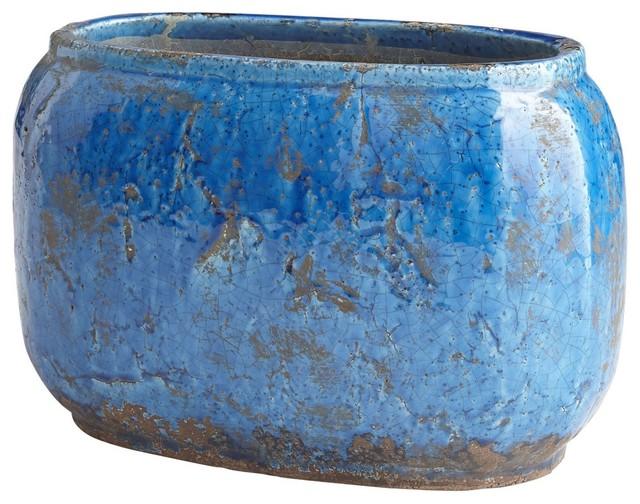 "Cyan Design Ventura 14.5"" Planter, Blue Glaze"
