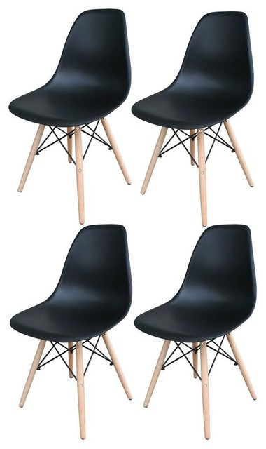 Surprising Wooden Leg Accent Chairs Black Set Of 4 Ibusinesslaw Wood Chair Design Ideas Ibusinesslaworg