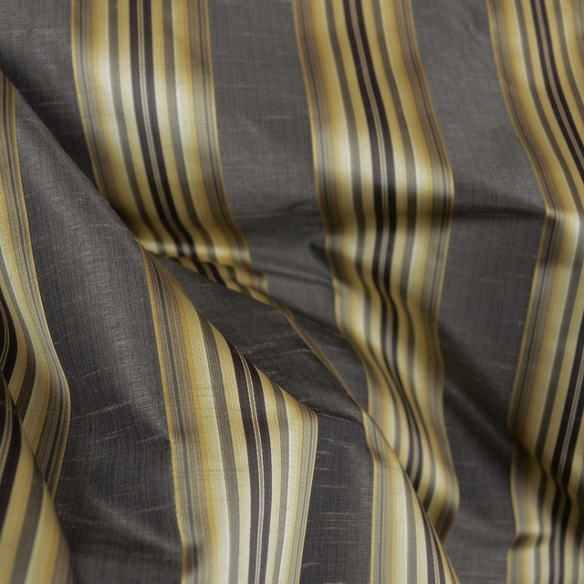 Candia Twilight Black Gold Striped Fabric Traditional Drapery - Black and gold stripe drapery fabric