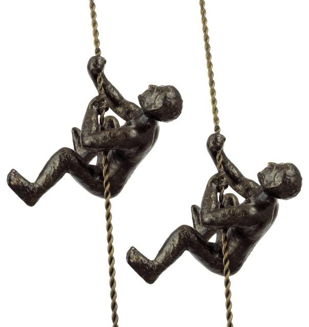 """Kira Home Titan 6"""" Climbing Man Metal Wall Sculpture + Charcoal Gold (set Of 2)."""
