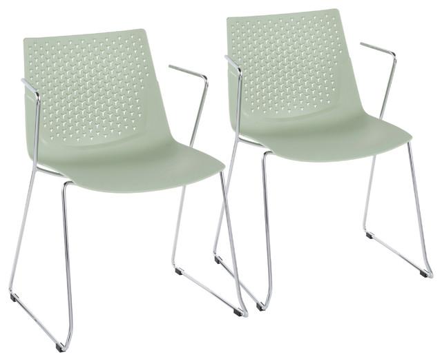Lumisource Matcha Chair, Chrome and Green, Set of 2