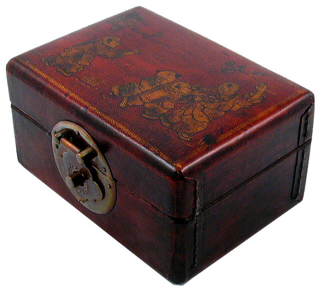 Decorative Boxes Uk: Leather Rectangular Storage Box Red