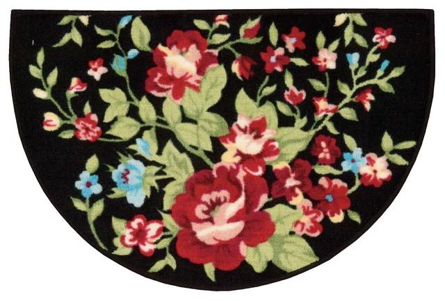 Accent Decor Floral Slice Accent Rug, Black, 1&x27;8x2&x27;6.