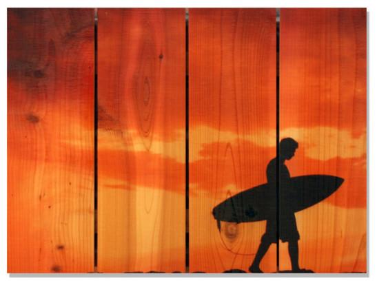 Beach Boy Inside/outside Full Color Cedar Wall Art, 22x16.