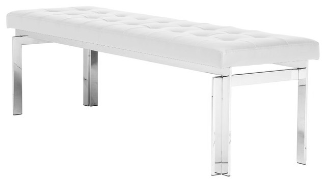 """Vincent Occasional Bench, Naugahyde Leather, Polished Stainless Steel 59"""", White."""