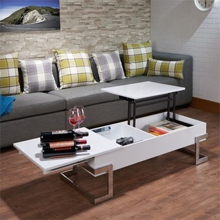 ACME Calnan Lift Top Coffee Table, White and Chrome