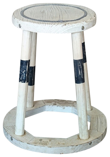 Distressed Wood Stool Beach Style Bar Stools And