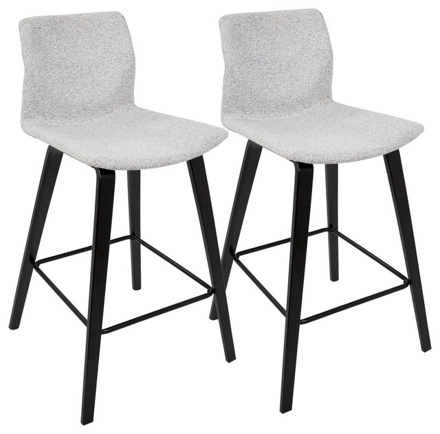 LumiSource Cabo Counter Stool, Espresso and Light Gray, Set of 2