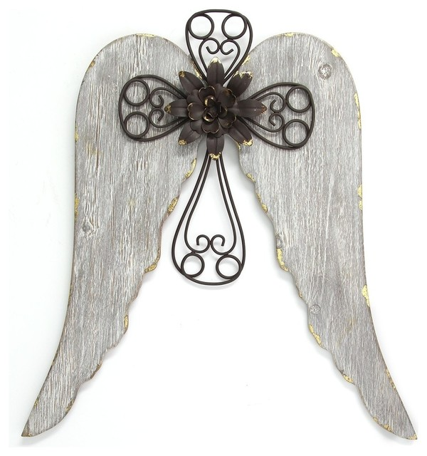 Angel Wings With Cross Wall Decor.
