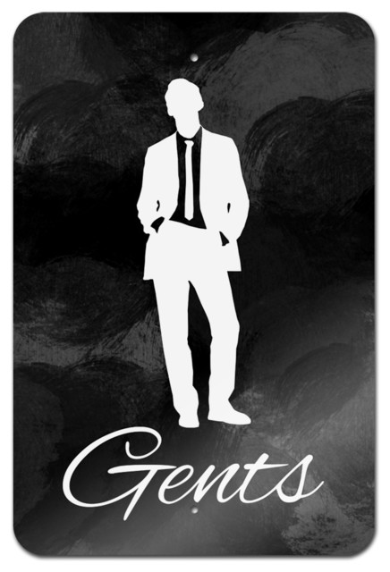 """Bathroom Sign Game gents"""" metal bathroom sign - contemporary - game room wall art and"""