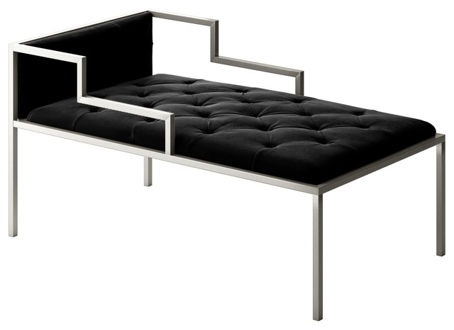 Oscar chaise short with frame modern indoor chaise for Black metal chaise lounge