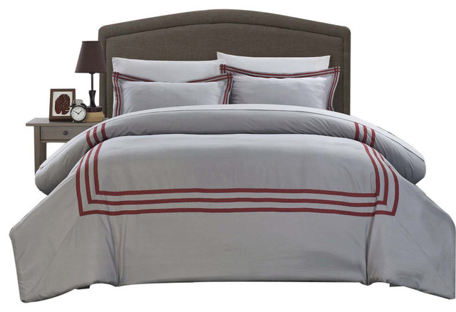 chic sigrid paige modern hotel collection 3piece duvet cover set king red duvet