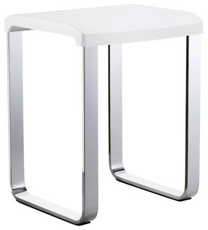 Outline Shower Vanity Chair Polished Chrome White Seat