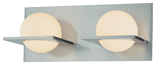 Orbit 2 Light Vanity, Chrome And White Opal Glass