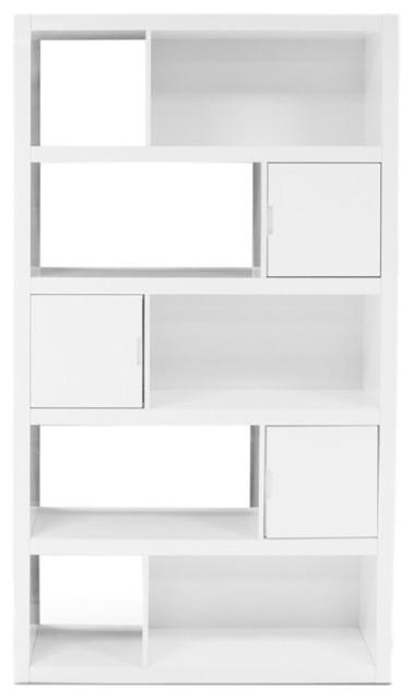 Keaton White High Gloss Bookcase