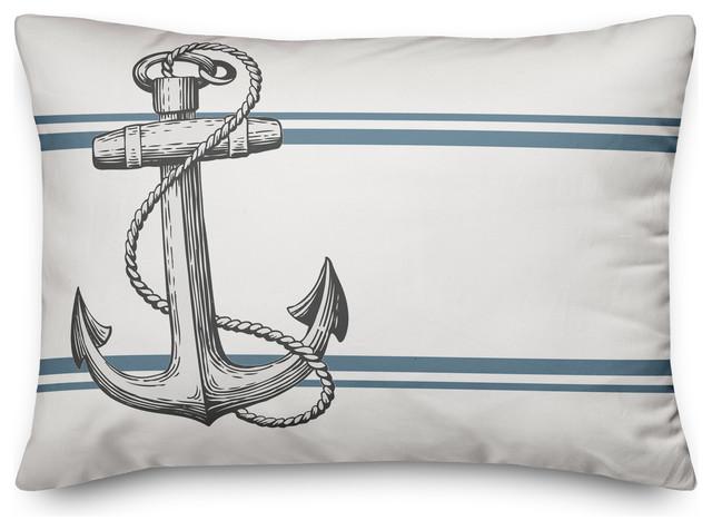 Gray Seaside Anchor Outdoor Throw, Outdoor Anchor Pillow