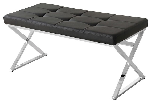 Sagebrook Home Black/silver Leather Bench, X Legs.