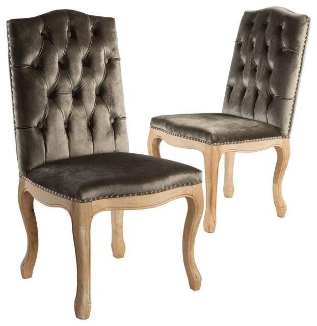 Cello Gray New Velvet Dining Chairs, Set Of 2.