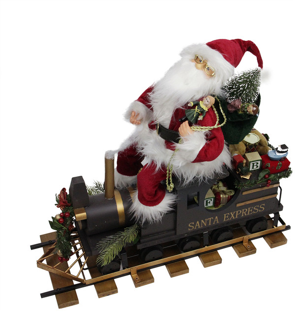 Statuesque Santa Express Train Christmas Figure on Wooden Railroad ...