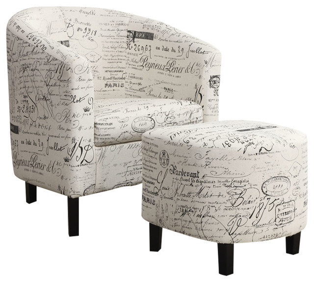 Sensational Coaster 2 Piece Accent Chair And Ottoman Set French Script Pattern Inzonedesignstudio Interior Chair Design Inzonedesignstudiocom