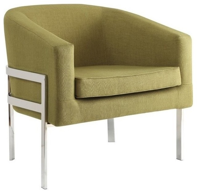 Coaster Contemporary Accent Chair With Metal Frame Green