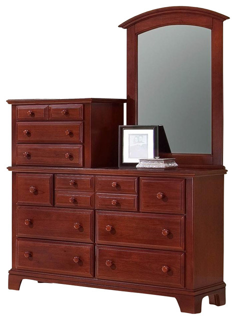 10 Drawer Vanity Dresser Set In Cherry Finish