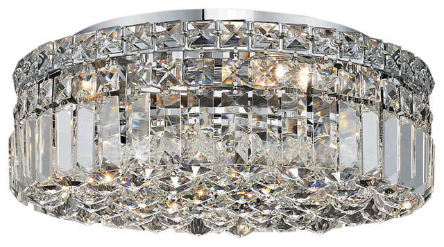 Ibiza Design 5 Light 16 Chrome Flush Mount With Clear European Crystals.