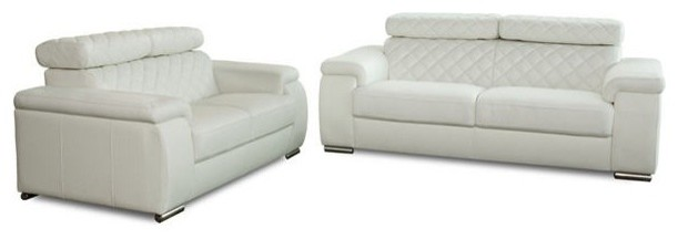 Coco Two Pieces Leather Sofa Set.