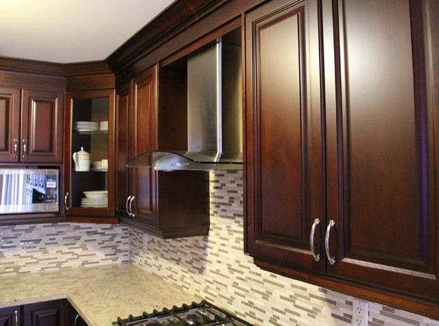 Dark Cherry Coloured Custom Kitchen Cabinets with Granite ...