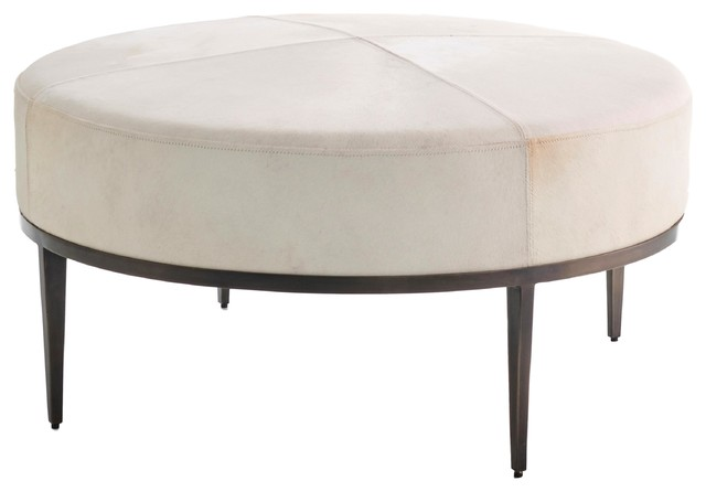 Admirable Luxe Modern Minimalist Ivory Hair Hide Ottoman Coffee Table Leather Round Iron Short Links Chair Design For Home Short Linksinfo