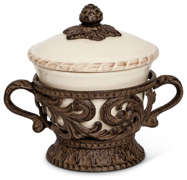 GG Collection Acanthus Covered Bowl Traditional Decorative Bowls Cool Cream Decorative Bowl