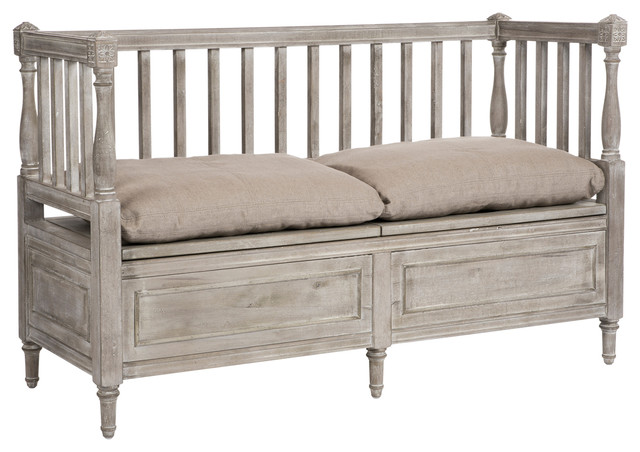 damita french country weathered gray high back storage bench sofa short traditional indoor. Black Bedroom Furniture Sets. Home Design Ideas