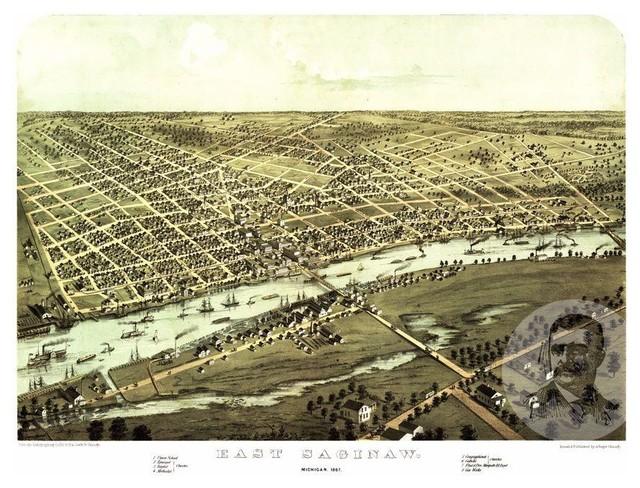 Historic Saginaw Mi Map 1867 Vintage Michigan Art Print Decor