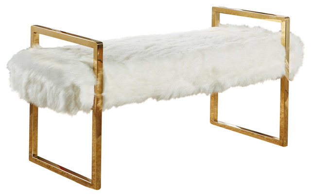 Super Chloe Faux Fur Bench White Squirreltailoven Fun Painted Chair Ideas Images Squirreltailovenorg