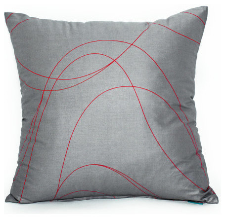 Gray And Red Swirl Accent, Throw Pillow Cover - Contemporary - Decorative Pillows - by Silver ...