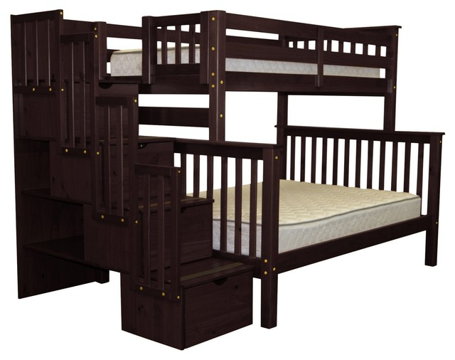 Bedz King Bunk Beds Twin Over Full Stairway With 4 Step Drawers, Cappuccino.