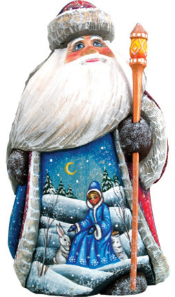 Snow Maiden With Bunny Santa, Woodcarved Figurine.