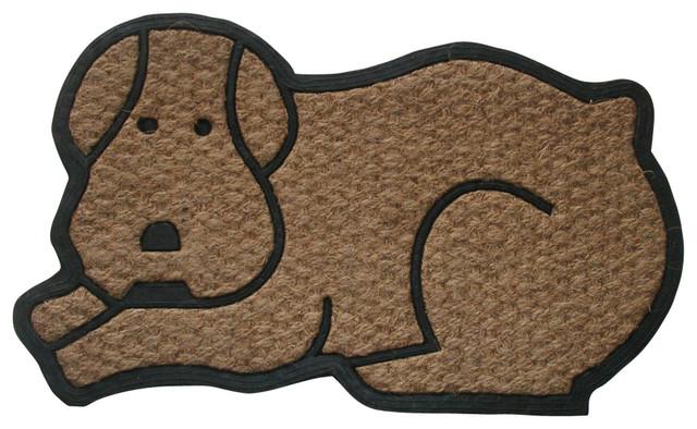 Dog Shaped Flat Weave Doormat.